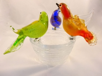 Murano Glass Birds on the Nest