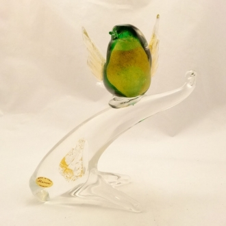 Murano Glass Green Gold Bird on the Branch