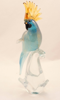 Murano Parrot Aqua Gold Closed Wings