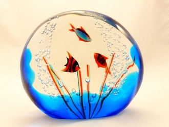 Murano Glass Medium Large acquarium with three fishes