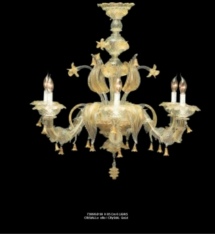 Murano Glass Chandelier Crystal/Gold
