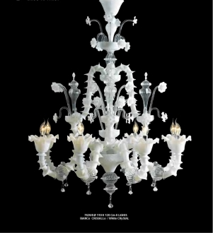 Murano Glass Chandelier White/Crystal