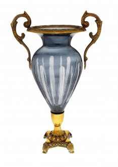 Blue Crystal and Brass Vase with Gold Base