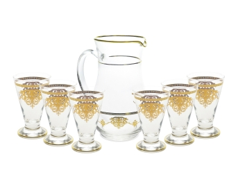 7 Piece Drinkware Set with Gold Artwork