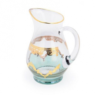 CJG139-Pitcher Green w Diamond Cuts 24k Gold Artwork