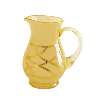 Milk Glass Amber Pitcher with 24K Gold Design