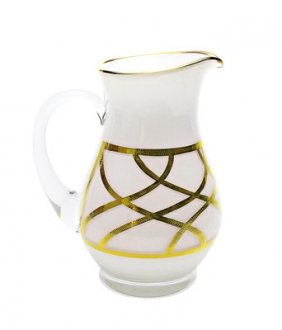 Milk Glass Pitcher with 24K Gold Design