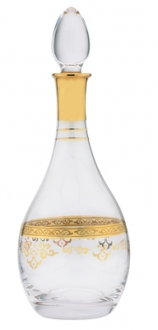 Wine Bottle with Rich 14K Golds Design