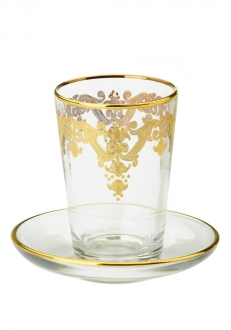 24k Gold Artwork Cups with Trays-Set/6