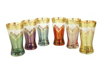 CWTM139-Set 6 Tumblers Assorted Colors w Diamond Cuts