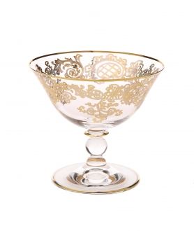 Dessert Bowl w Rich 24 K Gold Design- 4.5H