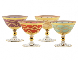 Set of 4 Milk Glass Dessert Cups- Mix Colored- 24K Gold