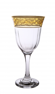Set of 6 Amber Water Glasses with Gold Design