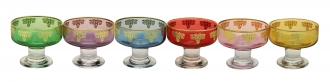 Set of 6 Assorted Colored Dessert bowls with Rich Gold Design