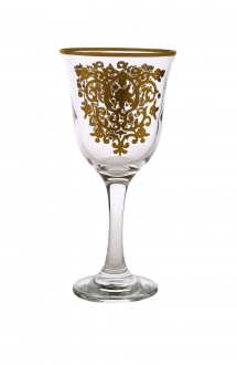 Set of 6 Water Glasses with Gold Design