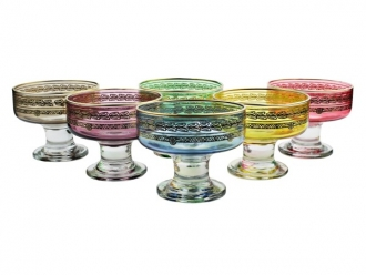 Set of 6 Colored Dessert Bowls With Rich Gold Design- Dishwashing Safe