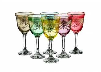 Set of 6 Colored Water Glasses With Rich Gold Design- Dishwashing Safe