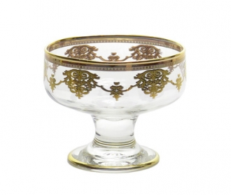 Set of 6 Dessert Cups with Gold Design
