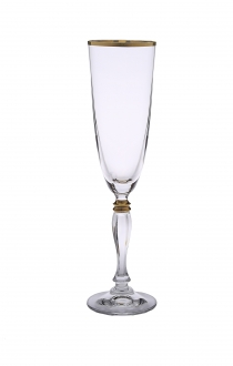 Set of 6 Flute Glasses with simple Gold Design