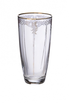 Set of 6 glass tumblers with 14K gold design- 3D x 6H, 14 oz.