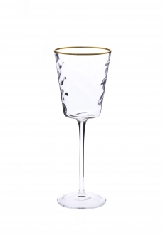 Set of 6 Pebble Glass Water Glasses with Gold Rim