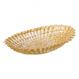 CB525-Beveled Oval Bowl-Sm Gold