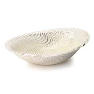 CBWS522-Oval Bowl Silver Wavy Design
