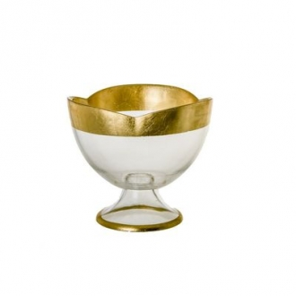 CFB116-Flower Shaped Footed Bowl Gold