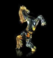 Murano Glass Amber/Black/Gold Horse