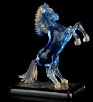 Murano Glass Blue Sky And Gold Horse