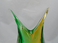 Murano Glass Vase Green/Amber