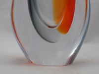 Murano Glass Vase Red/Gray