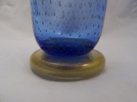 Murano Glass Aqua Vase with Golden Leaves