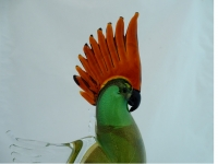Murano Glass Parrot Green/Gold With Amber Crest