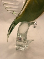 Murano Glass Parrot Green with Clear Crest and Open Wings