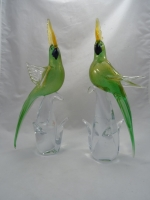 Murano Parrot Green Gold Closed Wings
