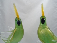 Murano Parrot Green Gold Pair