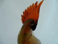 Ruby/Gold Murano Glass Parrot Close Wings with Amber Crest