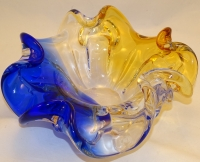 Large Amber/Blue Murano Glass Bowl