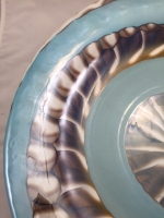 Murano Glass Centerpiece Aqua/Brown