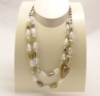 Murano Glass Pearl Effect Neckace Brown/White