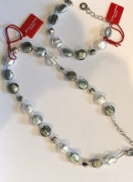 Murano Glass Necklace Smoky/White