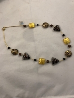 Murano Glass Necklace Black/Gold