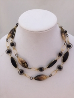 Murano Glass Black/gold Necklace Short