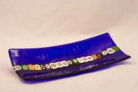 Murano Glass Blue Rectangle Murano Glass Tray With Murrine Band
