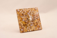 Murano Glass Clock Amber/Brown/White/Gold