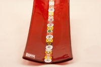 Murano Glass Red Rectangle Murano Glass Tray With Murrine Band
