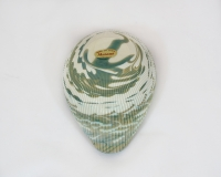 Mignon Shell Murano glass Ivory and turquoise bowl