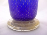 Bullicante Cobalt Blue Murano Glass with gold Leaves
