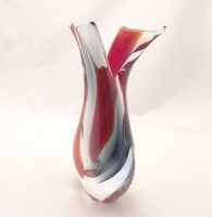 Murano Glass  Ruby Red Smoky Crystal clear Vase
